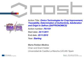 Marta Roldan-Medina Chair and Grant Holder  Universidad de  Castilla -La Mancha (UCLM)/ Spain