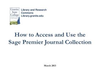 How to Access and Use the Sage Premier Journal Collection