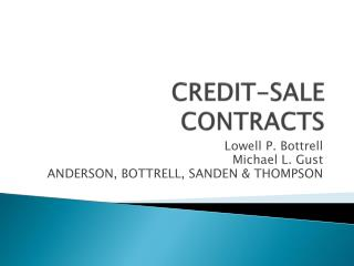 CREDIT-SALE CONTRACTS
