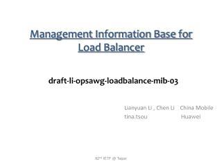Management Information Base for Load Balancer