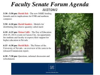 Faculty Senate Forum Agenda 11/27/2012