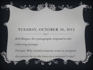 Tuesday, October 30, 2012