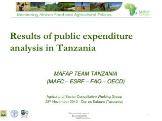 Results of public expenditure analysis in Tanzania