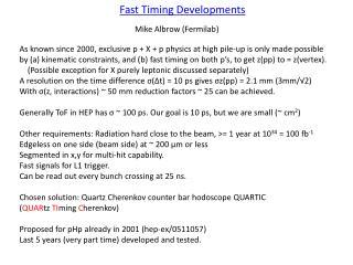 Fast Timing Developments