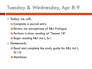 Tuesday & Wednesday, Apr 8-9