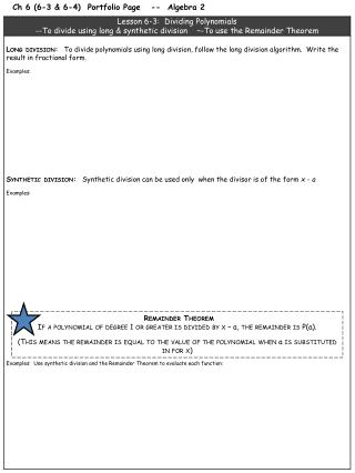Ch 6  (6-3 & 6-4)  Portfolio Page   --  Algebra 2