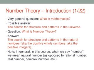 Number Theory – Introduction (1/22)