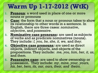 Warm Up  1-17-2012  (WtK)