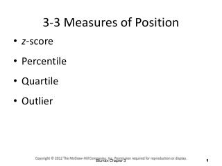 3-3 Measures of Position