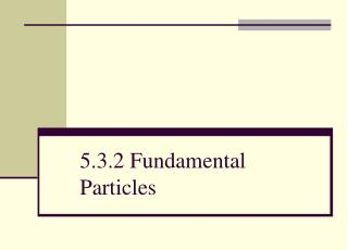 5.3.2 Fundamental Particles