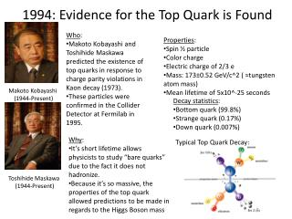 1994: Evidence for the Top Quark is Found