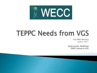TEPPC Needs from VGS