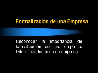 Formalización de una Empresa
