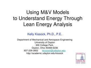 Using M&V  Models  to Understand Energy Through  Lean Energy Analysis