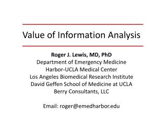 Value of Information Analysis
