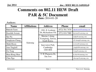 Comments on 802.11 HEW Draft  PAR & 5C Document