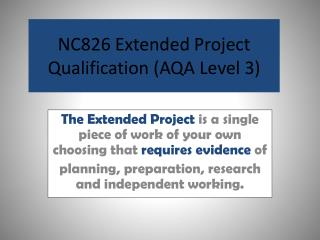 NC826 Extended Project Qualification (AQA Level 3)