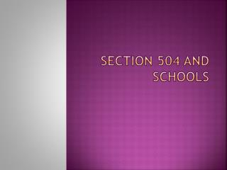 Section 504 and Schools