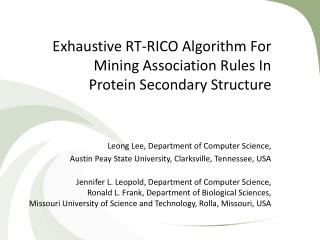 Exhaustive RT-RICO Algorithm For Mining Association Rules In  Protein Secondary Structure