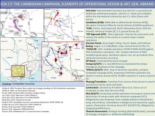 EOA  17 :  THE CAMBODIAN CAMPAIGN, ELEMENTS OF OPERATIONAL DESIGN & ART, GEN. ABRAMS
