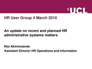 HR User Group 4 March 2010