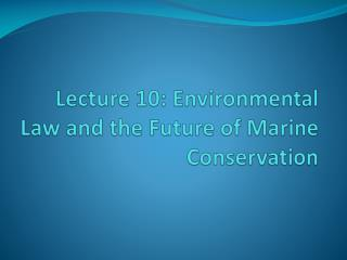 Lecture 10: Environmental Law and the Future of Marine Conservation