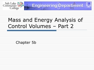 Mass and Energy Analysis of Control Volumes