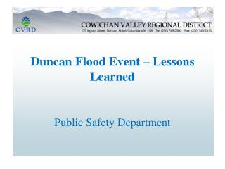 Duncan Flood Event – Lessons Learned Public Safety Department