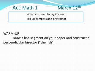 Acc  Math 1     	      March  12 th