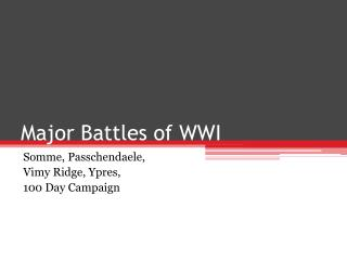 Major Battles of WWI