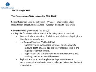 RECEP (Ray) CAKIR The Pennsylvania State University, PhD, 2005