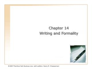 Chapter 14 Writing and Formality