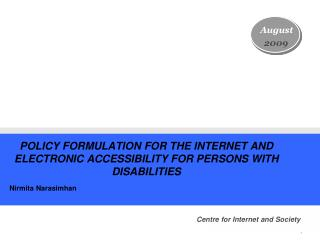 POLICY FORMULATION FOR THE INTERNET AND ELECTRONIC ACCESSIBILITY FOR PERSONS WITH DISABILITIES