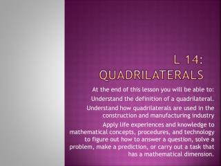 L 14: Quadrilaterals