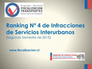 Ranking N� 4 de Infracciones  de Servicios Interurbanos  (Segundo Semestre  de  2013 )