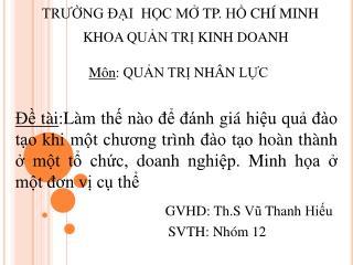 TRƯỜNG ĐẠI  HỌC MỞ TP. HỒ CHÍ MINH
