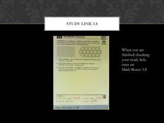Study Link 3.8