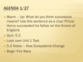 Agenda 1/27
