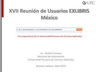 XVII Reunión de Usuarios EXLIBRIS México