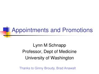 Appointments and Promotions