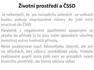 Životní prostředí a ČSSD