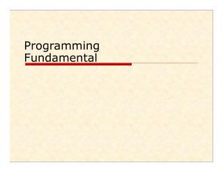 Programming Fundamental