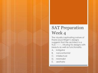 SAT Preparation Week 4