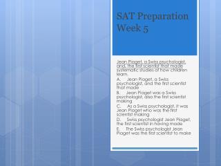 SAT Preparation Week 5