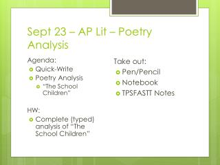 Sept 23 – AP Lit – Poetry Analysis