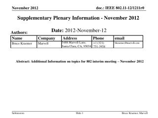 Supplementary Plenary Information -  November  2012