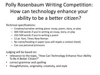 Technical specifications: Creative/narrative writing  piece: essay, poem, story , or  play