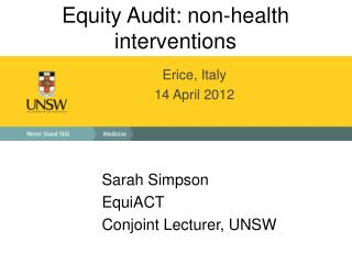 Equity Audit: non-health interventions