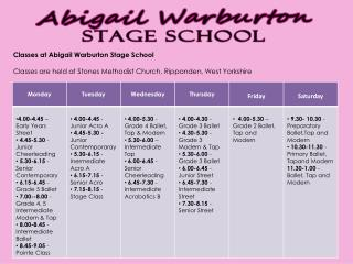 Classes at Abigail Warburton Stage  School
