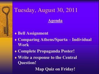 Tuesday ,  August  30 ,  2011